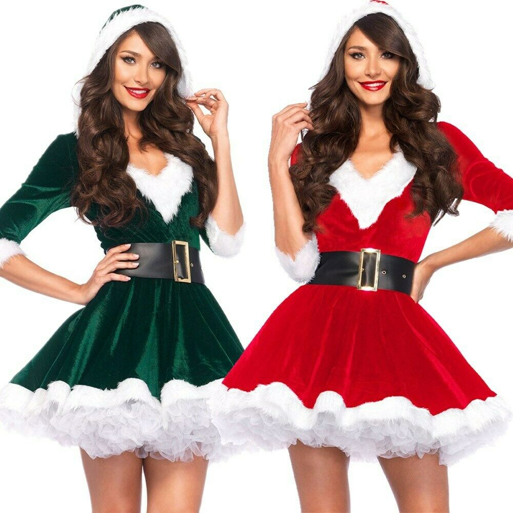 Christmas Dress Ladies Women Santa Claus Xmas Dress Costume Performance Party Hood Outfit Costume Clothing Green Red