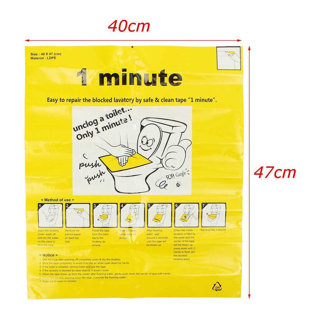 40x47cm Toilet Disposable Sticker Plunger Dredge Easy Fix Clogged Film STTA889