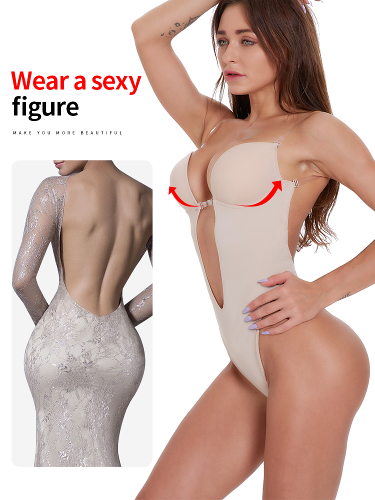 Waist trainer shaper Body tummy  Shapewear corset for slimming Bodysuit Clear Strap  women Deep V Backless Plunge  padded Bra