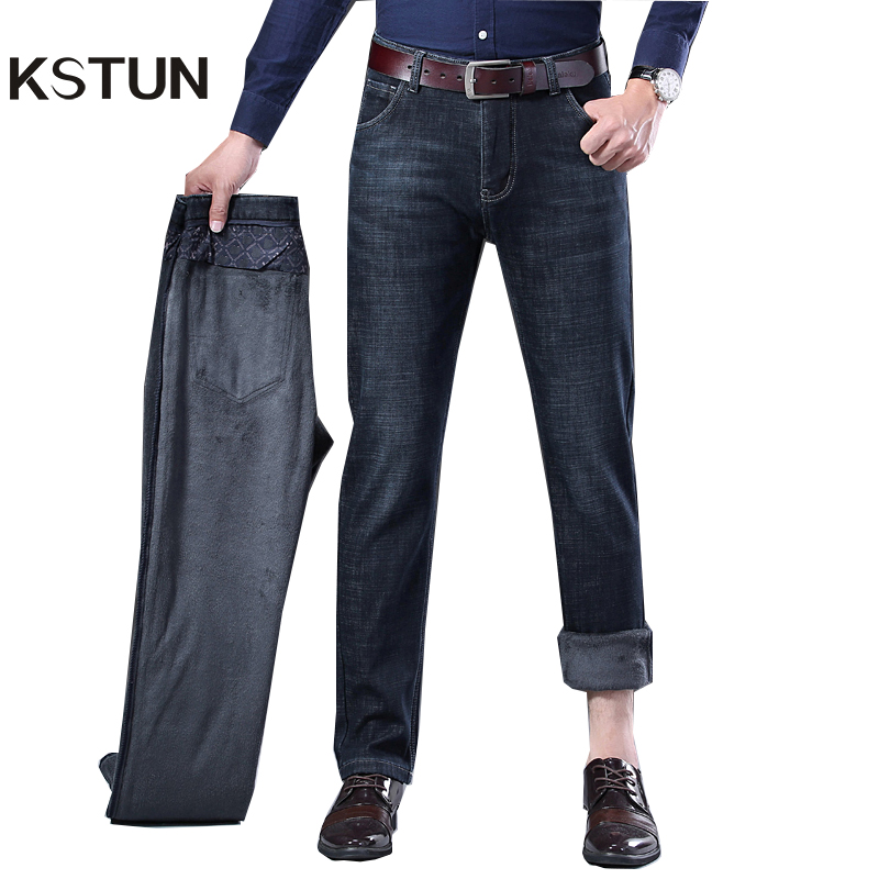 Black Jeans Mens Jeans Brand 2019 Winter Warm Jeans Fleece Classic Straight Fit Stretch Business Casual Men Fashions Jean Hombre