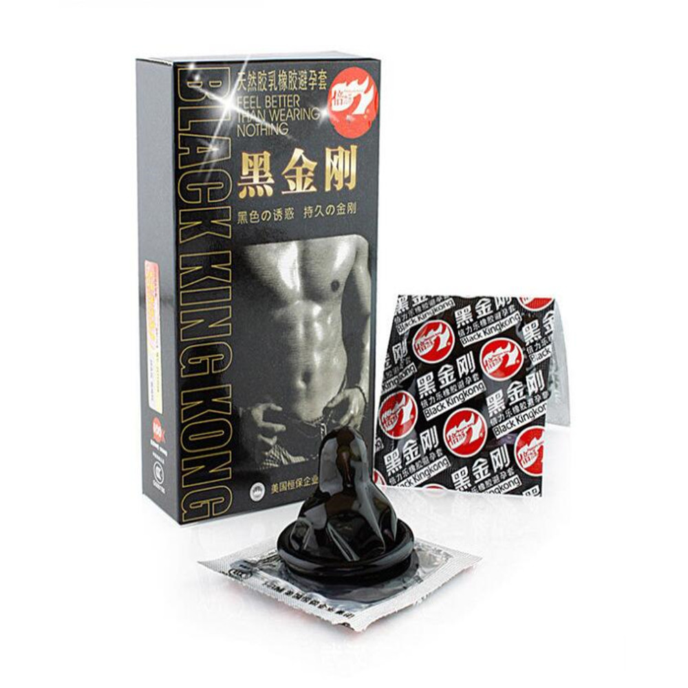10pcs Condoms Black Durable Ultra Thin Penis Sleeve Long Lasting Natural Latex Lubricated Condoms Men Contraception Sex Products in Condoms from Beauty Health