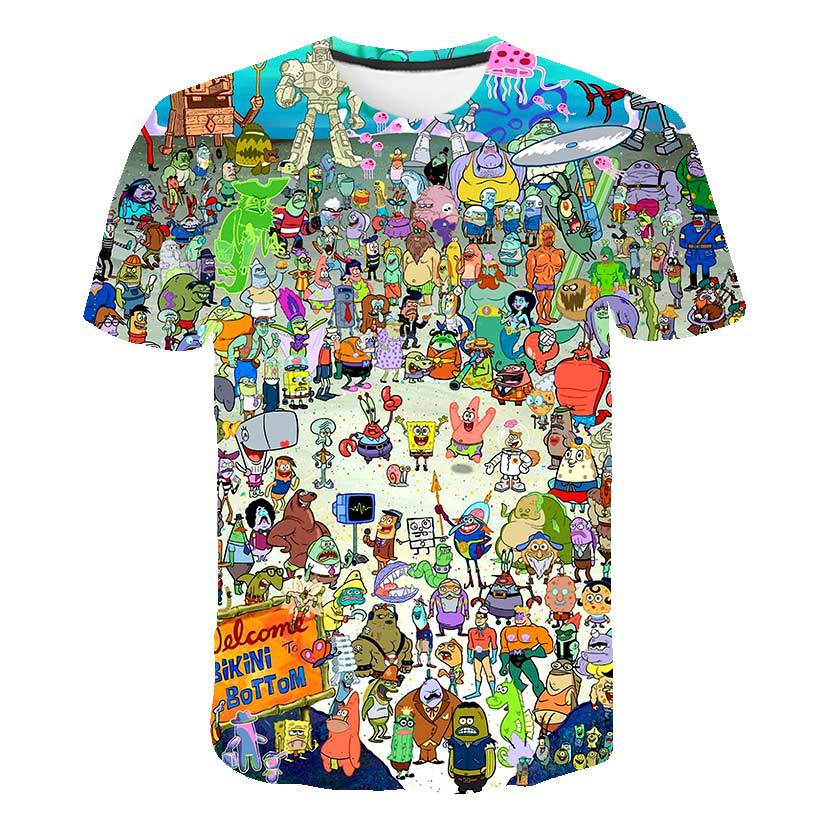 New Summer Spongebob Casual Men's T-shirts, 3D Printed T-shirts, Casual Cartoon Fashion Children's T-shirts Parent-child Outfit