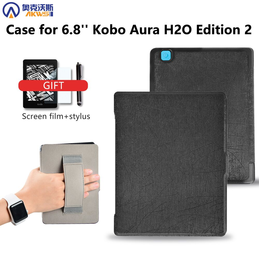 "Smart cover case for 2017 Kobo aura H2O edition 2 6.8"" water proof ereader with hand holder/ hand grap+free gift