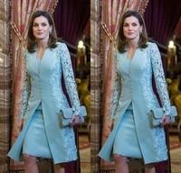 Elegant Mother Of Bride Dresses Short Two Piece Blue Long Sleeve Lace Applique Satin Mother of Groom Dress robe de soiree
