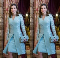 Elegant Mother Of Bride Dresses Short Two Piece Blue Long Sleeve Lace Applique Satin Mother of Groom Dress robe de soiree