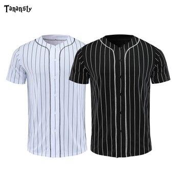 цена на Baseball Jerseys Men Black White Stripe Jersey Street Hiphop T Shirts Baseball Tops Daily Button Cardigan Crew Neck shirt