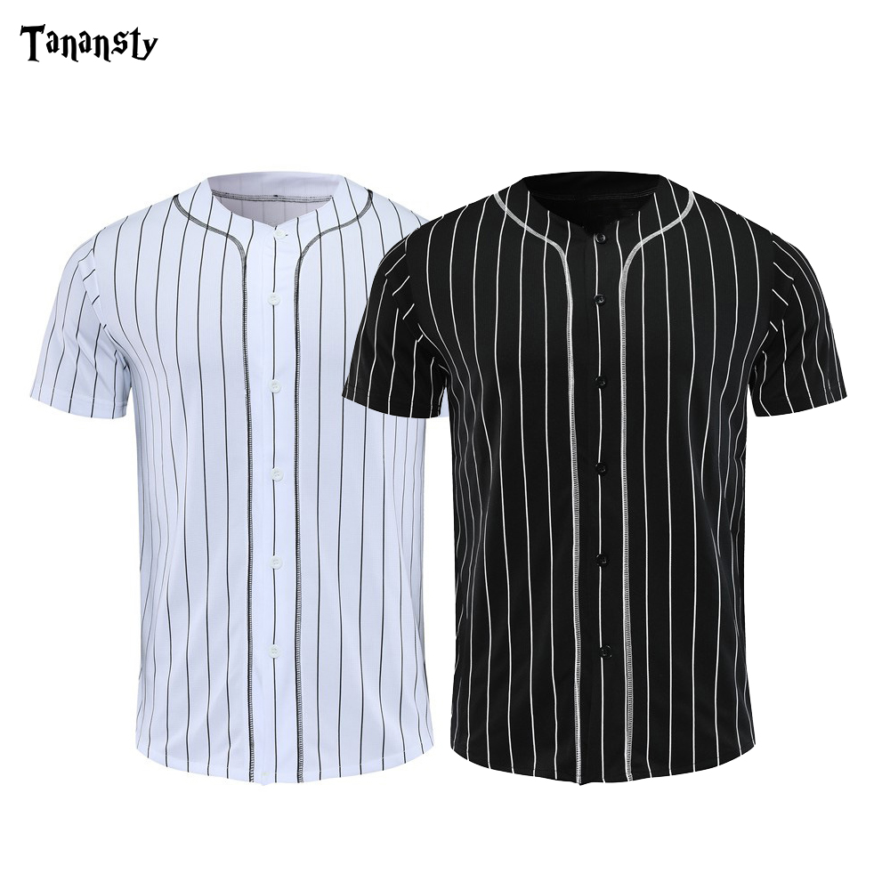 Baseball Jerseys Men Black White Stripe Jersey Street Hiphop T Shirts Baseball Tops Daily Sportswear Drop Shipping Crew Neck