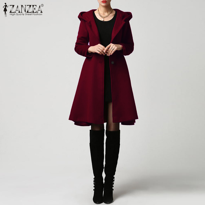 Женские толстовки с капюшоном, пальто, длинные куртки 2019, ZANZEA-зима, отложной воротник, пальто размера плюс, 5XL, женская верхняя одежда с карма...