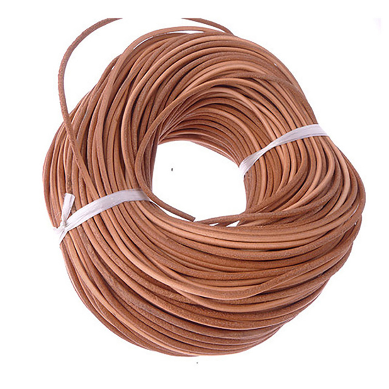 3MM 10 Meter Natural Color Real Genuine Leather Cord Round Rope String For DIY Necklace Bracelet Jewelry Cord Dia 3mm