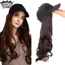 Длинные Синтетические Бейсбол Кепки парики из натуральных волос