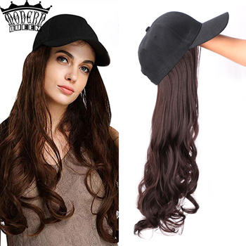 Long Synthetic Baseball Cap Hair Wig Natural Black / Brown Wave Wigs 22inch Naturally Connect Hat Adjustable For girl party