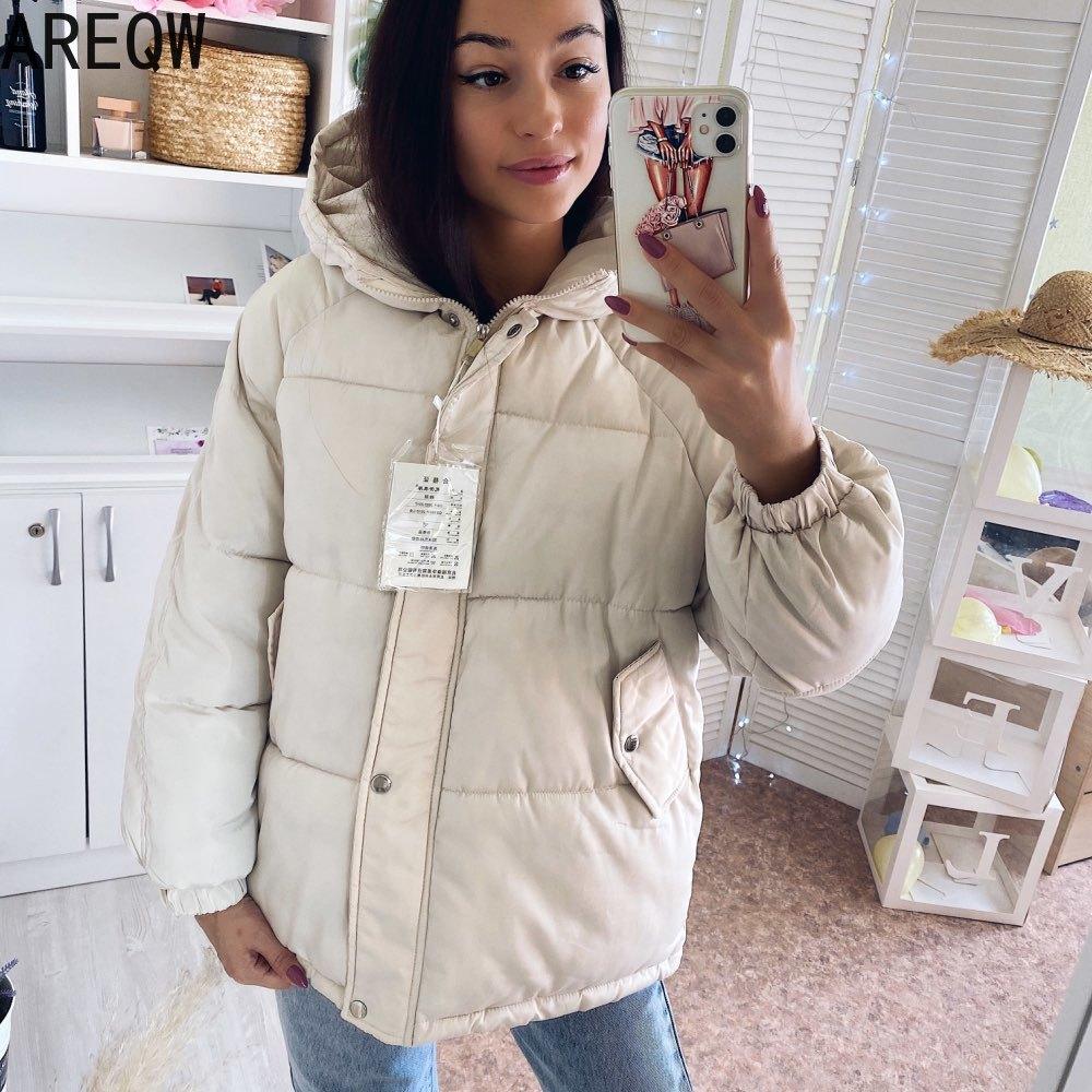 Новинка 2021, женские пальто и куртки, осенне-зимнее пальто с капюшоном, Плотные хлопковые парки, Женская пуховая куртка оверсайз