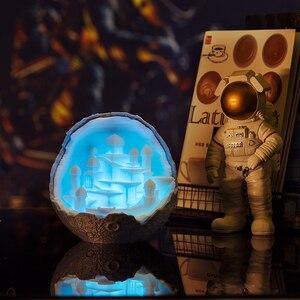 Image 5 - 2019 새로운 Dropship 야간 조명 3D 인쇄 문 성 램프 로켓 램프 애호가를위한 선물로 문 램프처럼