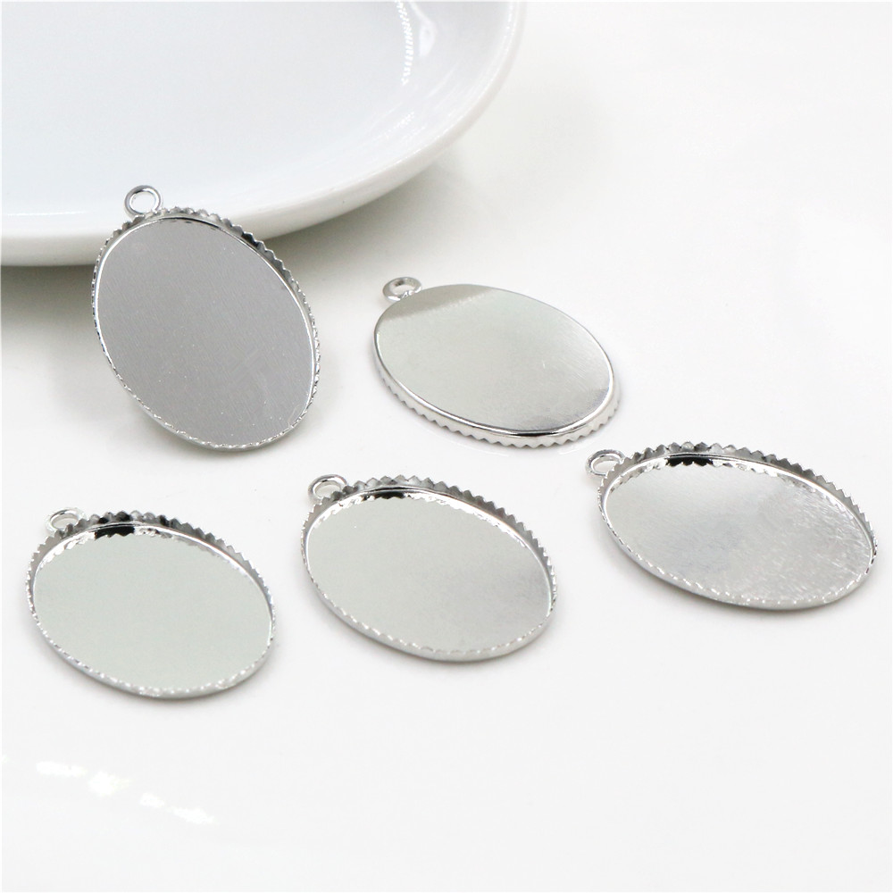 30pcs 18x25mm Inner Size Stainless Iron Material Rhodium Color Plated Oval Style Cabochon Base Cameo Setting Pendant Tray-S2-24