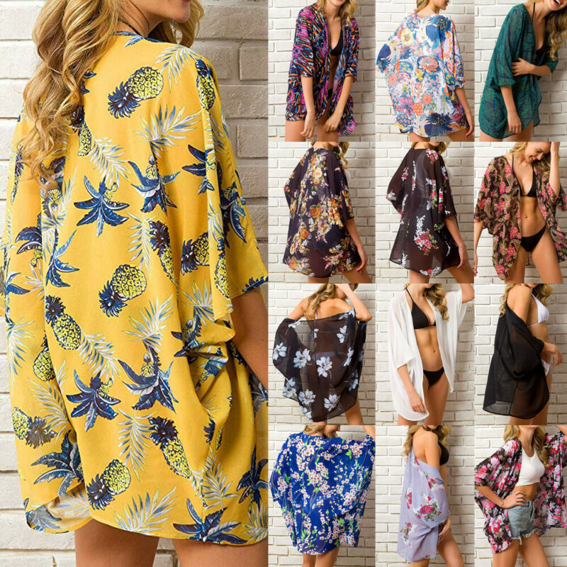 13 Styles Women Chiffon Kimono Beach Cardigan Bikini Cover Up Lady Summer Vintage Tropical Floral Print Beach Cardigan Cover Up