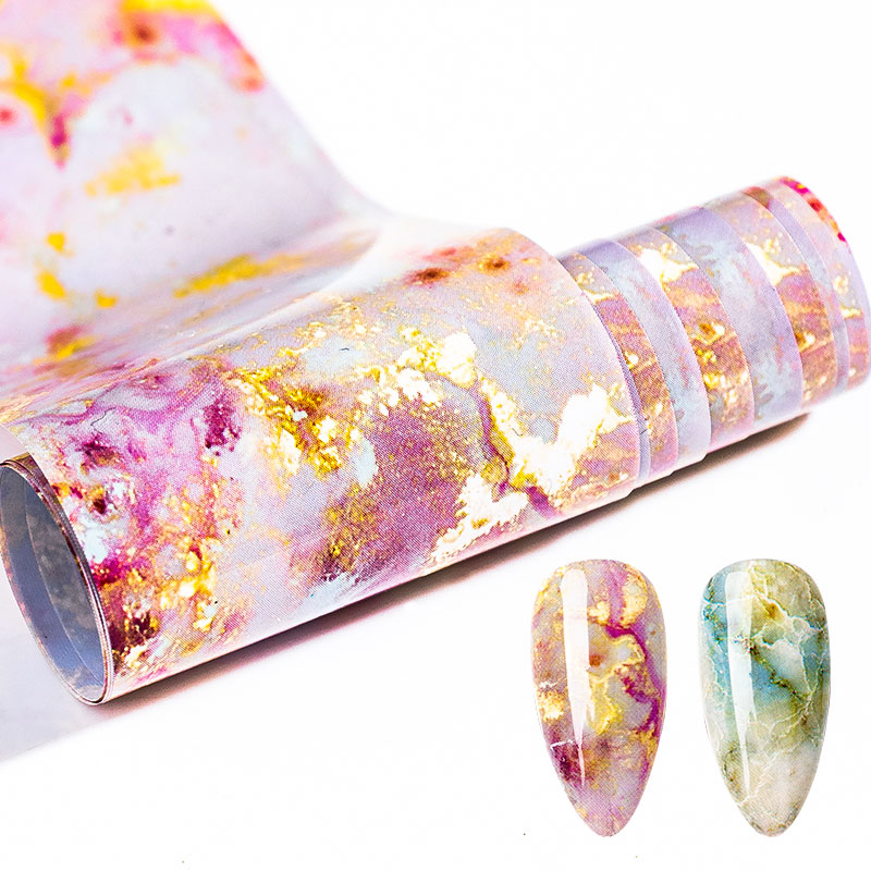 100x4cm Nail Foils Marble Series Pink Blue Foils Paper Nail Art Transfer Sticker Slide Nail Art Decals Nails Accessories 1 Box