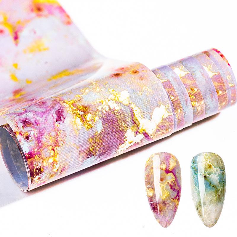 100x4cm Nail Foils Marble Series Pink Blue Foils Paper Nail Art Transfer Sticker Slide Nail Art Decals Nails Accessories 1 Box