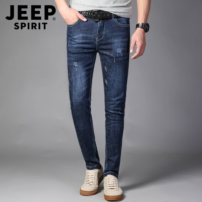 JEEP SPIRIT Skinny Jeans Mens Jeans Brand Jean Homme Mid-waist Light Blue Jeans Pants Denim Casual Fashion Skinny Pants Men Wear
