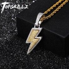 TOPGRILLZ مثلج خارج بلينغ البرق المعلقات مع تنس سلسلة النحاس المواد AAA مكعب الزركون الرجال الهيب هوب مجوهرات هدية