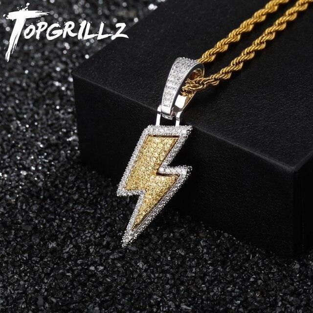 TOPGRILLZ buzlu Out Bling yıldırım kolye tenis zinciri bakır malzeme AAA kübik zirkon erkek Hip Hop takı hediye