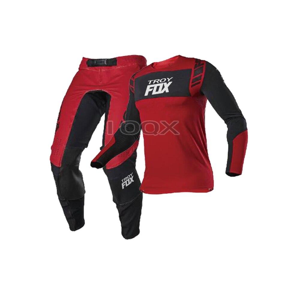 2021 Troy Fox MX ATV Flexair Mach Jersey Hosen Anzug Für Honda Motocross Motorrad Racing Getriebe Set Herren Racing Kits