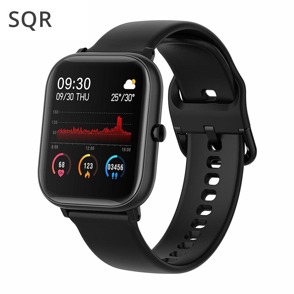 Sqr p8 se relógio inteligente das mulheres dos homens 1.4 Polegada rastreador de fitness tela sensível ao toque cheio freqüência cardíaca monitor pressão arterial para ios android