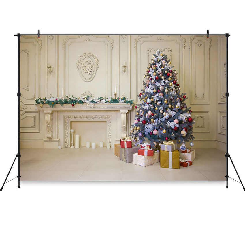 Neoback Рождественский фон белая стена камин Рождественская елка фотография фон для детской портретной фотостудии