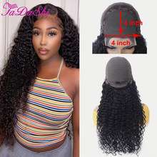 FaDaShi Hair Deep Curly Closure Wig Human Hair Lace Frontal Wigs 150% Density 4x4 Pre Plucked Bleached Knots Wigs 13x1 Lace Wig