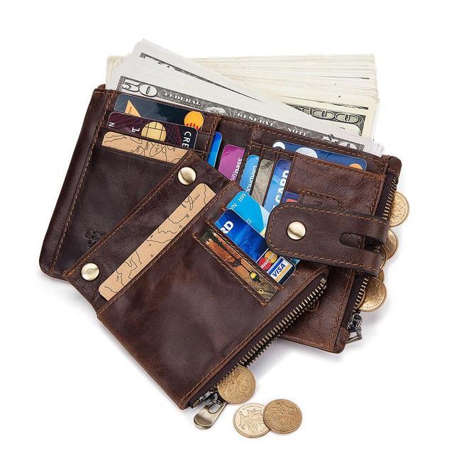 GZCZ Rfid Genuine Leather Men Wallet Coin Purse Small Mini Card Holder Chain PORTFOLIO Portomonee Male Min Walet Free Engraving 4