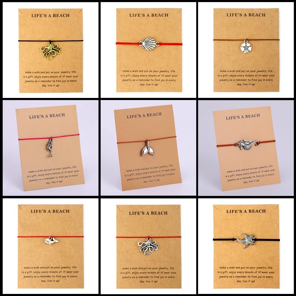 Seahorse Sea Horse Whale Tail Ocean Charms Adjustable Bracelets Women Men Unisex Love Best Friends Fashion Jewelry Summer Gift
