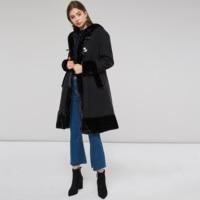 Women Black Hooded Winter Wool Blends Coat Full Sleeve Autumn Winter Warm Female Long Cloaks Outwear Back Lace Up Outwear