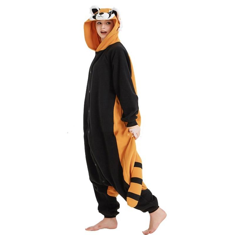 Kigurumi Women Pajama Cartoon Animal Raccoon Pajamas Homewear Fleece Flannel Couples For Pajamas Halloween Cosplay Jumpsuit S-XL