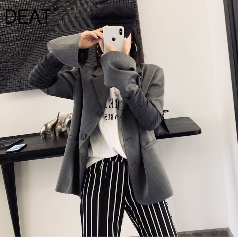 DEAT 2020 Spring New Korean Style Sleeve Long Sleeve Notched Single-breasted Suit Two-piece Lapel  Jacket Fashion Clothing QF977