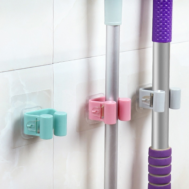 1PC Wall Mounted Mop Rack Hook Bathroom Mop Sticky Hanger Clip Mop Shelf Holder  Home Kitchen Organizer Storage Holders Racks 1