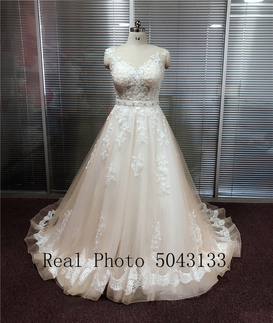 Transparent Scoop Champagne Wedding Dresses with Detachable Beading Sash Lace Applique Sleeveless Backless Bridal Gowns 2021 6