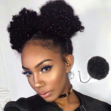 African Hair Bun Ponytail Drawstring Synthetic African Kink Curly Fiber Wig Headwear Synthetic Buns for Black