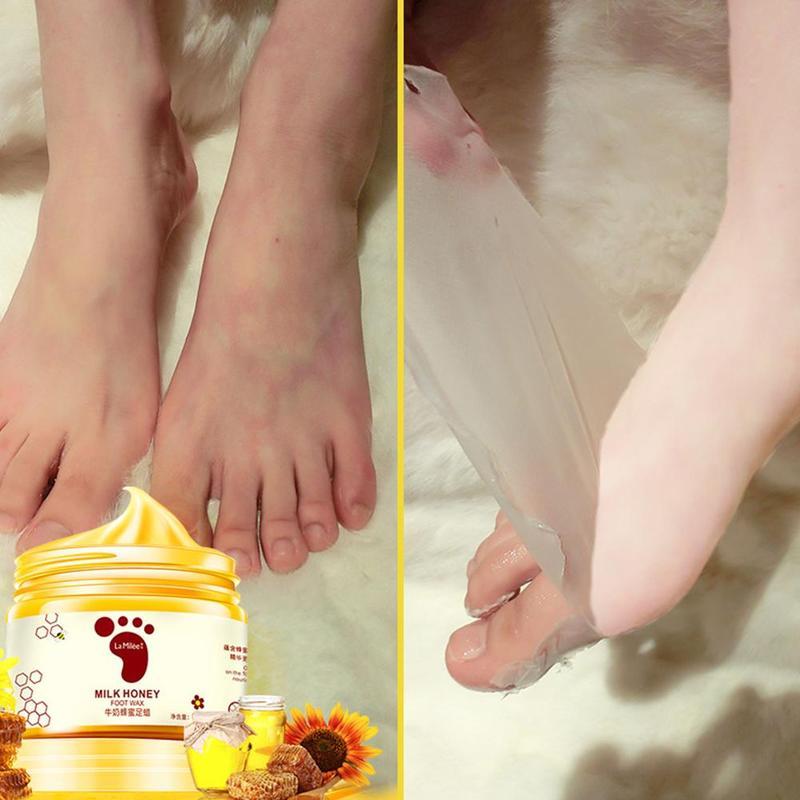 Honey Milk Foot Wax Feet Mask Moisturizing Hydrating Nourishing Whitening Skin Care Peel Off Dead Skin Exfoliating Anti-dry Mask 6
