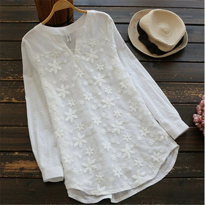 Blouse shirts 2020 summer blouse ladies embroidered blouse Shirts Long sleeve blouse Ladies Top Loose summer shirts for women