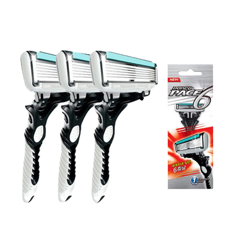 New Original DORCO Pace 6 Layer Razor 2Pcs/lot Men Shaver Razor Stainless Steel Safety Razor Blades