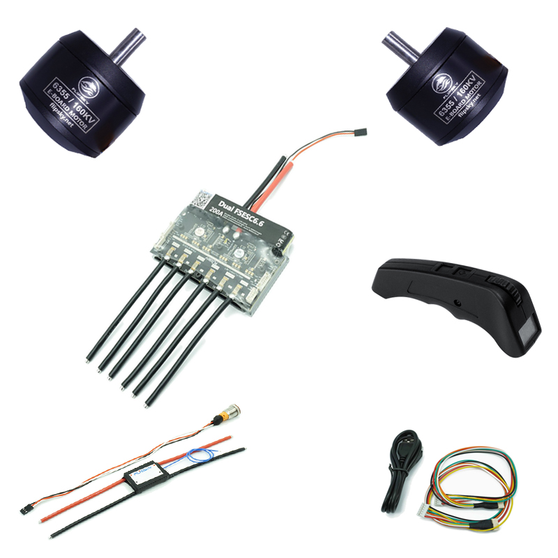 10% OFF Electric Skateboard Brushless DC Motor With Dual ESC Based On VESC6 H6355 160KV 1620W Flipsky DIY KIT