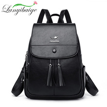 women Leather backpack Pure black women traveling backpack Sac a Dos Preppy High Quality Schoolbag Mochilas Escolar Feminin