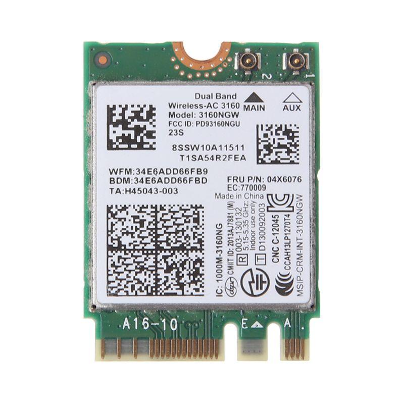 Placa de rede para Intel 2.4GHz/5GHz Sem Fio AC 3160 3160NGW 04X6034 04X6076 para Lenovo Thinkpad Y40 Y50 E10-30 E455 E555 C26