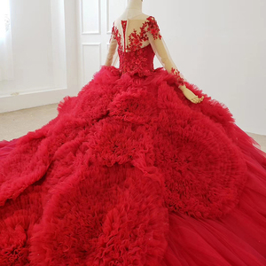 Image 4 - HTL1280 Luxe Shiny Vrouwen Gelegenheid Jurken O hals Lange Mouwen Lace Up Back Red Lace Engagement Jurk Lange Met Lange Trein