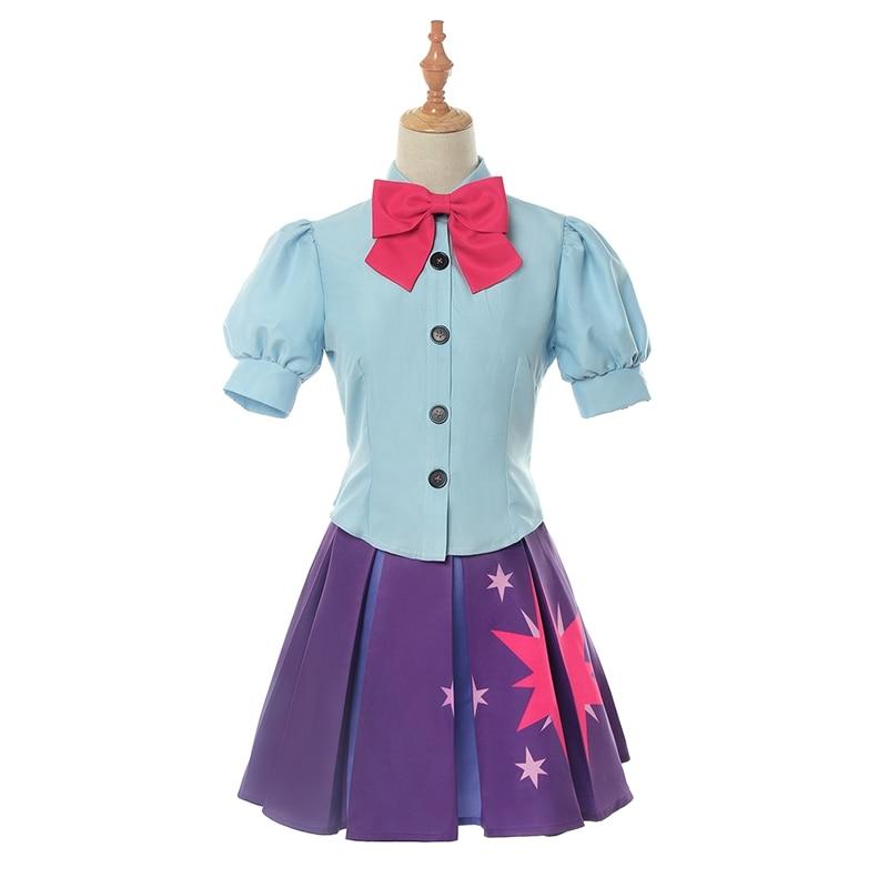 Anime My Little Pony: Friendship Is Magic Twilight Sparkle Uniform Dress Women Cosplay Costume Blue Shirt Purple Skirt