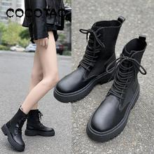 British Wind Martin Boots 2019 New Autumn And Winter Women's Thick Bottom Plus Velvet Warm Simple Wild Motorcycle Cotton  Boots