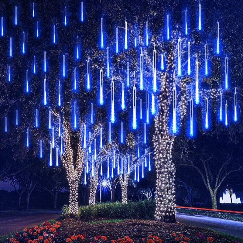 New Year 30 50cm Outdoor Meteor Shower Rain 8 Tubes LED String Lights Waterproof For Tree Christmas Wedding Party Decoration