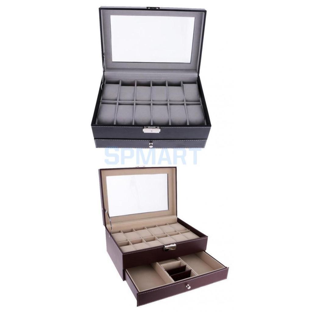 12 fentes 2 couches montre organisateur boîte en cuir PU affichage haut en verre bijoux mallette de rangement