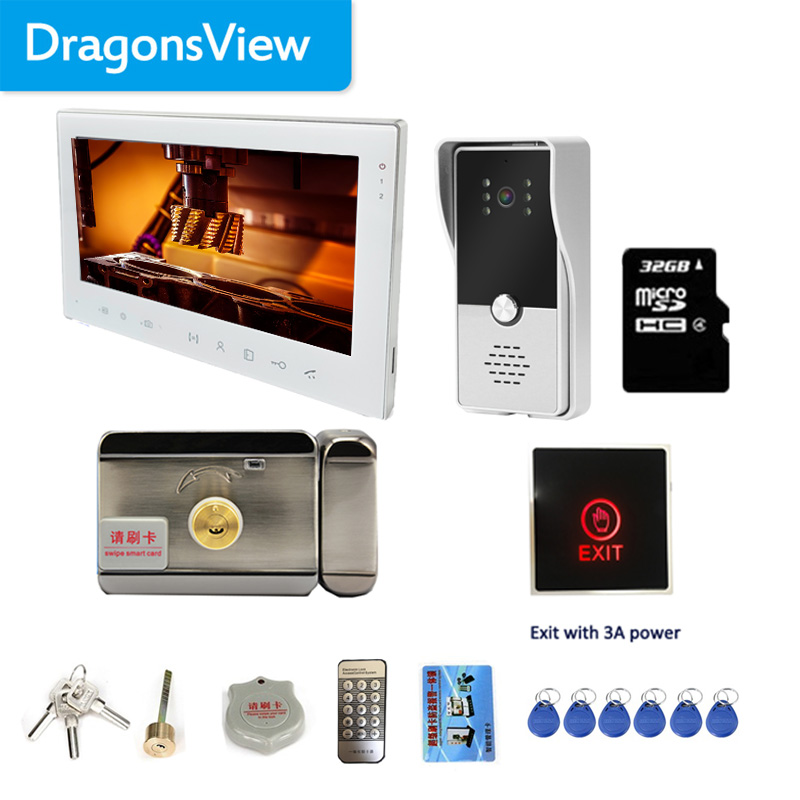 Dragonsview 7 Inch Touch Button Video Door Phone Doorbell Camera Intercom System Wired 1000tvl Record SD Card Motion Alarm