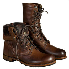 Male Boots Autumn Winter Men Soft Leather Tooling Shoes Fashion Retro Mid- Calf Male Motorcycle Punk Boots Rock Shoes