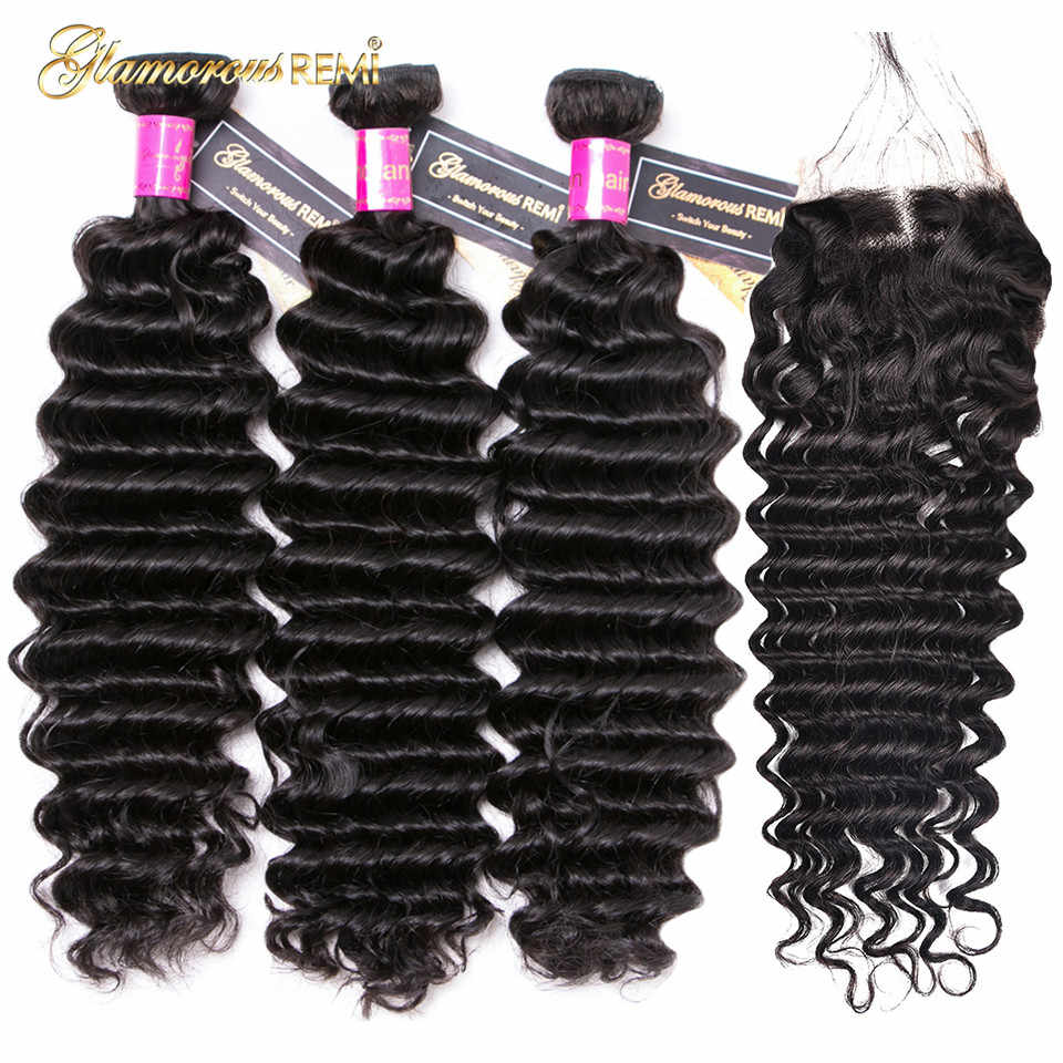 Deep Wave Bundles with Closure Human Indian Hair Weave 3 Bundles with Lace Closure Remy Hair Extension For Woman Natural Color
